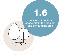 1,6 hectares of outdoor space within the precinct and surrounding area