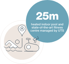 25m heated indoor pool and  state-of-the-art fitness centre managed by UTS
