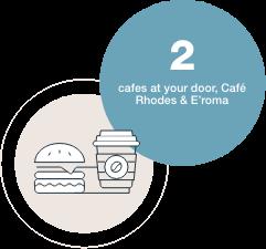 2 cafes at your door, Café Rhodes & E'roma