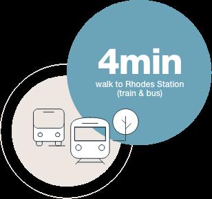 4 min walk to Rhodes Station  (train & bus)
