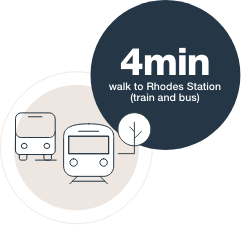 4min walk to Rhodes Station (train and bus)
