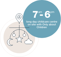 7am - 6pm long day childcare centre on site with Only about Children