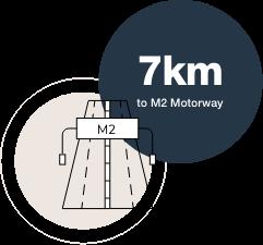 7km to M2 motorway