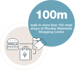 100m walk to more than 100 retail shops at Rhodes Waterside Shopping Centre